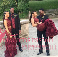 Wholesale Black Embellishment Chiffon Gown - Two Pieces Burgundy 2016 Black Girl Prom Evening Dresses Mermaid Sheer Neck Heavily Embellishment Tiered Skirts Formal Party Celebrity Gowns