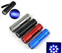 9led mini fackel uv großhandel-Aluminium Blacklight Ink Marker 9 LED UV Ultra Violet Mini Tragbare Taschenlampe Licht Lampe Silber kostenloser versand 3AAA ak027