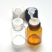 Wholesale Tube Sample Perfumes - 100pcs Mini Perfume Sample 2ml Glass Amber Bottle with Clamshell Orifice Reducer Plug Tubes Essential Oil Clear Vials