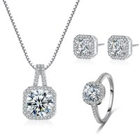 Wholesale Imitation Platinum Silver Wedding Rings - New Square Jewelry Set Shinny Zircon Necklace Earring Ring Set Western Style 925 Silver Crystal Diamond Women Necklace hip hop jewelry