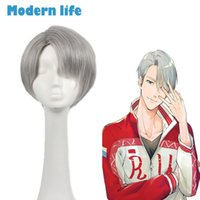Wholesale Yuri Cosplay - Yuri!!! On Ice Victor Nikiforov Cosplay costume grey Short Straight synthetic resistant wig anime cosplay for men high quality