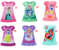 Summer pajamas cotton - 2017 summer girls dresses Elsa Anna Mermaid Sofia Snow White Minnie kids pajamas polyester nightgowns sleepwear clothes T