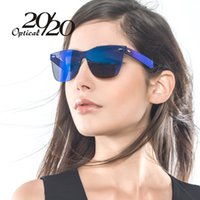 Wholesale Sexy Lens - 20 20 Brand Unique Style Sunglasses Women Sexy Flat Lens Rimless Square Frame Sun Glasses For Women Shades Vintage Oculos Gafas