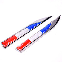 Wholesale Renault France - 2PCS Quality France Flag Badge Fender Side Wing Emblem Decals Sticker Metal For Peugeot Citroen Renault etc Styling