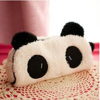 Wholesale Gift Fabric - Wholesale-Cute Gift Soft Plush Panda Pencil bag Nice Cosmetic Fabric coin purse Office & School Supplies