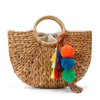Wholesale Large Straw Beach Tote Bags - Beach Bag Straw Basket Totes Bag Bucket Large Big Summer Bags with Tassels Pom Pom Women Natural Handbag 2017 New High Quality C95