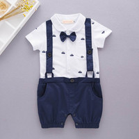 Wholesale One Retail - Retail Baby Boys Gentleman Rompers anchor Print Summer One Piece Short Sleeve Jumpsuits Overalls Clothing Toddler Clothes E12330