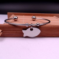 Wholesale Bulk Fishing - Wholesale- new Lot of 5pcs in bulk WOmen Stainless Steel Silver Open Cuff Bangle with Fish Tag Charms Bracelet