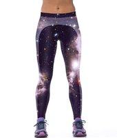 Wholesale Galaxy Tights Free Ship - galaxy 3D printed yoga wear pants free shipping leggings tight panties for womens Leggings training pants free size sweatpants