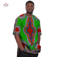 Wholesale Orange Hooded Dress - Wholesale- African Print Dresses Dashiki for Men 6XL t Shirts Men Half Sleeve Mens Shirts Brand Clothing Plus Size African Clothes WYN08