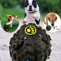 ingrosso suonare il gioco-Pet Puppy Dog Ball Giocattoli Squeaky Quack Sound Chew Treat Holder Divertente Gioca Palla Giocattoli Strozza Food Ball S / M / L WX-G18