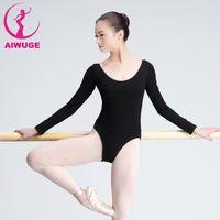 Wholesale Women Spandex Unitards - Girls Adult Ballet Leotard Black Women Dance Clothes Long Sleeve Cotton Ballet Dancewear Bodysuit For Ballerina