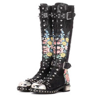 Wholesale New Cross Tied Motorcycle Boots For Women Embroiderd Rivet With Metal Decoration Buckle Print Flower Genuine Leather Knee High Boot D02002