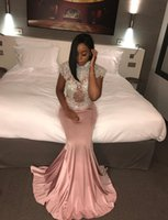 Wholesale Gold White Short Pagent Dress - Bling Bling High Neck Luxury Beaded High Neck Shortsleeve Pink Mermaid 2017 Prom Dresses Vestido De Festa Pagent Party Gowns