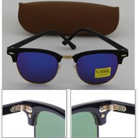 Wholesale High Quality Plank Black Sunglasses - Brand Vassl blue Colorful lens 51MM Designer Men Women Black Plank Frame Coating High Quality Sunglasses Sun Glasses With Box Case