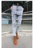 Wholesale Drop Crotch Jeans - Wholesale-Discount summer men's fashion light blue vintage slim harem jeans button fly low waist drop crotch baggy pants