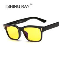 big framed glasses retro toptan satış-Toptan Satış - Erkekler Kadınlar Kare Gözlük Bilgisayar Mavi Sarı Lens Kore Marka Okuma Vintage Optik Gözlük Retro Büyük Çerçeve Gözlük