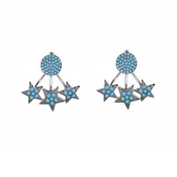 Wholesale Clip Earrings Star - KIVN Fashion Jewelry Pave CZ Cubic zirconia Star Stud Bridal Wedding Earring Jackets for Women Party Christmas valentine gift