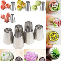 Wholesale Cupcake Decorated - 300pcs lot Russian Tulip Nozzle Perfect For Cake Cupcake Decorating Icing Piping Nozzles Russian Rose Nozzles Tips Cooking Cake tools I016