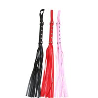 Wholesale Harness Rivets - Black Red pink 12 Rivets whip fetish flogger leather whip sex spanking sex products adult whips bdsm games leather harnesses men