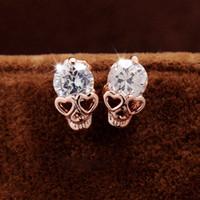 Wholesale Silver Skull Earrings Women - 2017 new!Women Fashion Earring Studs Skull Shape White Cublic Zircon High Quality alloy Jewelry Earrings for Gifts