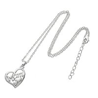 Wholesale Cheap Heart Shaped Pendants - Online Cheap Mothers Gift MOM letter Necklace Open Heart Shape Floating Pendant Necklace