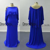 Wholesale Blue Short Strapless Prom Dresses - Cape Sleeves Prom Dresses 2016 Royal Blue Golden Lace Appliqued Sheath Scoop Satin Evening Party Dresses