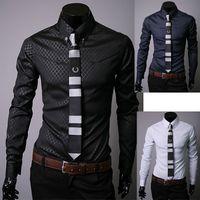 Wholesale Shirt Korea Import - New 2017 high-quality goods South Korea imported fabrics dark grain ling men long sleeve shirt no necktie #1985