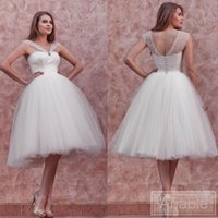 Wholesale Charm Wedding Dress Short Strapless - 2016 Short Wedding Dress A Line Beach Lace Wedding Dresses with Straps Keen Length Wedding Gown Charming Garden Bridals Gowns