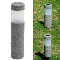 Wholesale Light Stones Wholesale - Wholesale- 3W Solar Power Gray Stone Pillar LED Solar Light For Outdoor Lighting Garden Lawn Courtyard Decoration Lamp 1.2V
