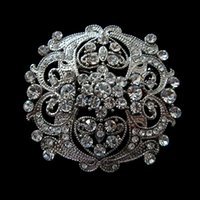 Wholesale large flowers for wedding - Vintage Silver Clear Rhinestone Crystal Large Flower Brooch for wedding
