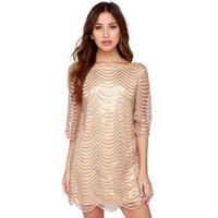 Wholesale Dresses Shift Cotton - 2017022504 Golden Wave Sequin Lace Dress Women Backless Bla Sheer Shift Dresses Cut Out Sequin Mesh Straight Dress Vestidos