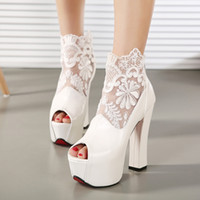 Wholesale Lace Peep Toe Bridal Shoes - New Fashion Peep Toe Summer Wedding Boots Sexy White Lace Prom Evening Party Shoes Bridal High Heels Lady Formal Dress Shoes