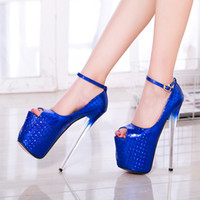 Wholesale shoes for nightclub - New ultra fine with 19 cm heels for women's shoes big yards sexy nightclub scales grain light mouth fish mouth golden wedding shoes