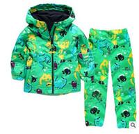 Wholesale Sports Dinosaur - Boys Clothes Set Kids Clothes Dinosaur Raincoat Jacket+Pants Boys Sport Suit 2017 Spring Girls Clothes Children Clothing Set
