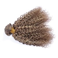 Wholesale curly two tone hair extensions - Mix Piano Color Hair Bundles 3Pcs Midium Brown And Blonde Two Tone Hair Weft #8 #613 Deep Curly Hair Extensions