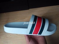 Wholesale Mens Sandals Free Shipping - fast free shipping 2017 mens fashion striped causal slide sandals with printing leather summer outdoor beach slippers