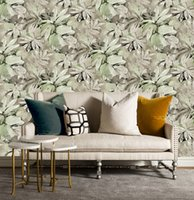 Wholesale Embossing Wallpaper - Wholesale PVC embossing flower vintage wallpaper roll Countryside 3d wallpaper Green color washable wall covering for TV and sofa background
