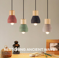 Wholesale Loft Lighting Fixtures - Loft Industrial Light Cement Wood Art Pendant Light Fixture Ceiling Light Fixture Chandelier