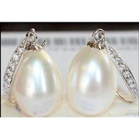 Wholesale South Sea Australian Earrings - a pair of natural 11-13MM Australian south seas white pearl earrings