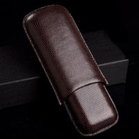 Wholesale Cigar Tube Cutter - 1pcs Cigar leather pouch Humidor tobacco cigarette pipe double Cigar tube travel carrying Case Holder 2 cigar Cutter knife storage pocket