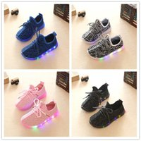 Wholesale Casual Shoes For Toddlers - 2017 Big Size Led Kids Shoes For Baby Child Toddlers Shoes Casual Boy Baby Shoes Sport Sneakers Running 350 Footwear For Boy And Girls