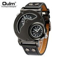 Wholesale Oulm Watches For Men - Oulm Designer Brand Luxury Watches For Men Dual Time Quartz-watch Waterproof Watch Sport Male Clock relogio masculino