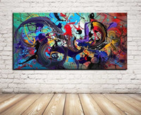 Wholesale Color Life Paint - Single Unframed Modern Oil Painting Abstract Color On Canvas Giclee Wall Art picture for Living Room Home Decoration (Size:5 sizes)