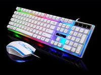 Wholesale Luminous Backlit Keyboard - G21 wired usb luminous gaming mouse and keyboard computer mechanical feel backlit keyboard and mouse set