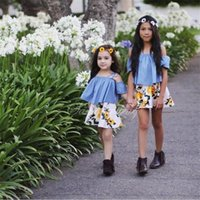 Wholesale Tank Dress Bow Girls - INS children princess outfits 2017 new summer girls cotton suspender bows falbala tank top+print pleated dress 2pcs sets kids clothes C0442