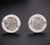 Wholesale Logo Fashion Earrings - 1Pair High Quality Luxury Full Crystal Round Ear Studs Women's Fashion Earrings Logo Ear studs Classic Crystal Earrings