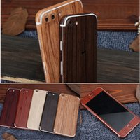 Wholesale Stickers Iphone Fashion - For iPhone 6 Phone Sticker Fashion Wood Grain Full Body Mobile Phone Stickers for iPhone 6 6S 7 Plus Front&Back Full Decal Film