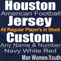 Custom Houston Fußball Jersey Alle Regular Player Jersey in Stock Name Zahlen sind genäht Mann Lady Kid Größe Navy Blue White Red American