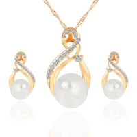 Wholesale Pearl 11mm - New Alloy Pearl Diamond Necklaces Earrings Jewelry Set Gold White 10pcs Size 21*11mm 29*17mm Weight 13g